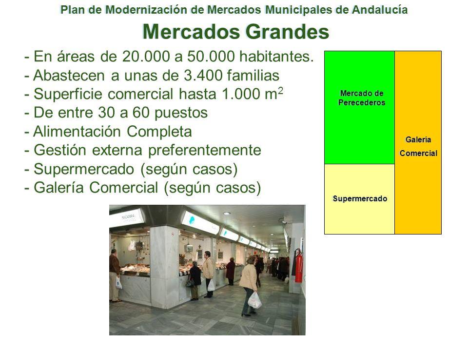 Plan de Modernización de Mercados Municipales de Andalucía Mercados Grandes - En áreas de 20.000 a 50.000 habitantes. - Abastecen a unas de 3.400 fami