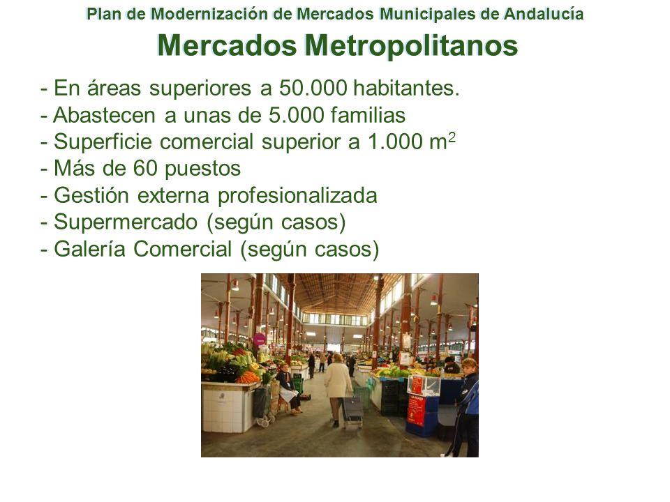 Plan de Modernización de Mercados Municipales de Andalucía Mercados Metropolitanos - En áreas superiores a 50.000 habitantes. - Abastecen a unas de 5.