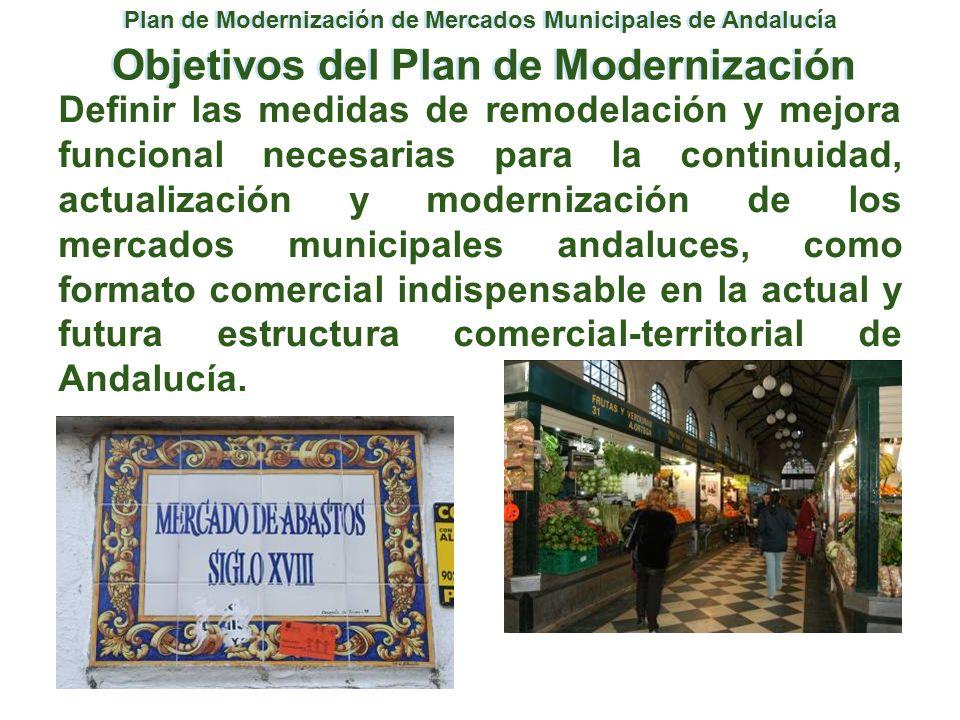 Definir las medidas de remodelación y mejora funcional necesarias para la continuidad, actualización y modernización de los mercados municipales andal