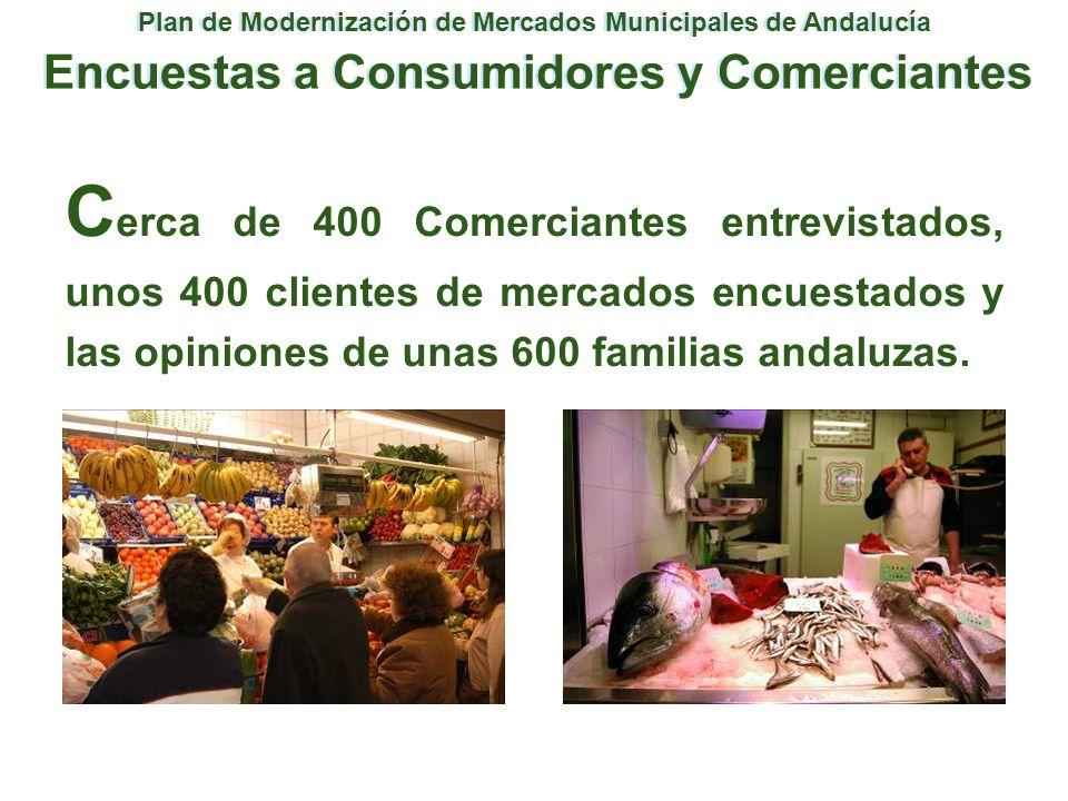 Plan de Modernización de Mercados Municipales de Andalucía Encuestas a Consumidores y Comerciantes C erca de 400 Comerciantes entrevistados, unos 400