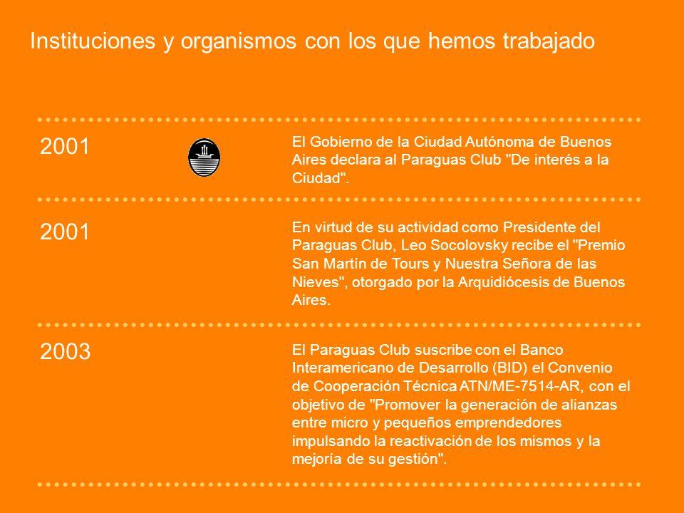 Instituciones y organismos con los que hemos trabajado 2001 El Gobierno de la Ciudad Autónoma de Buenos Aires declara al Paraguas Club De interés a la Ciudad .