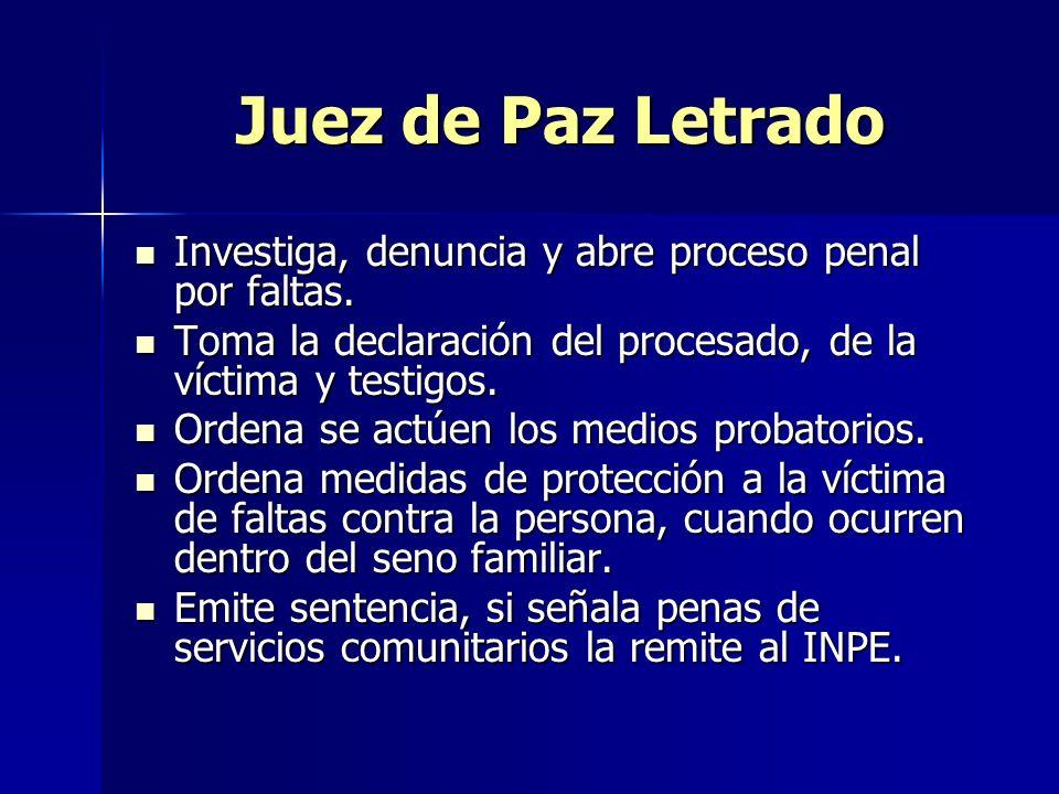 Juez de Paz Letrado Investiga, denuncia y abre proceso penal por faltas.