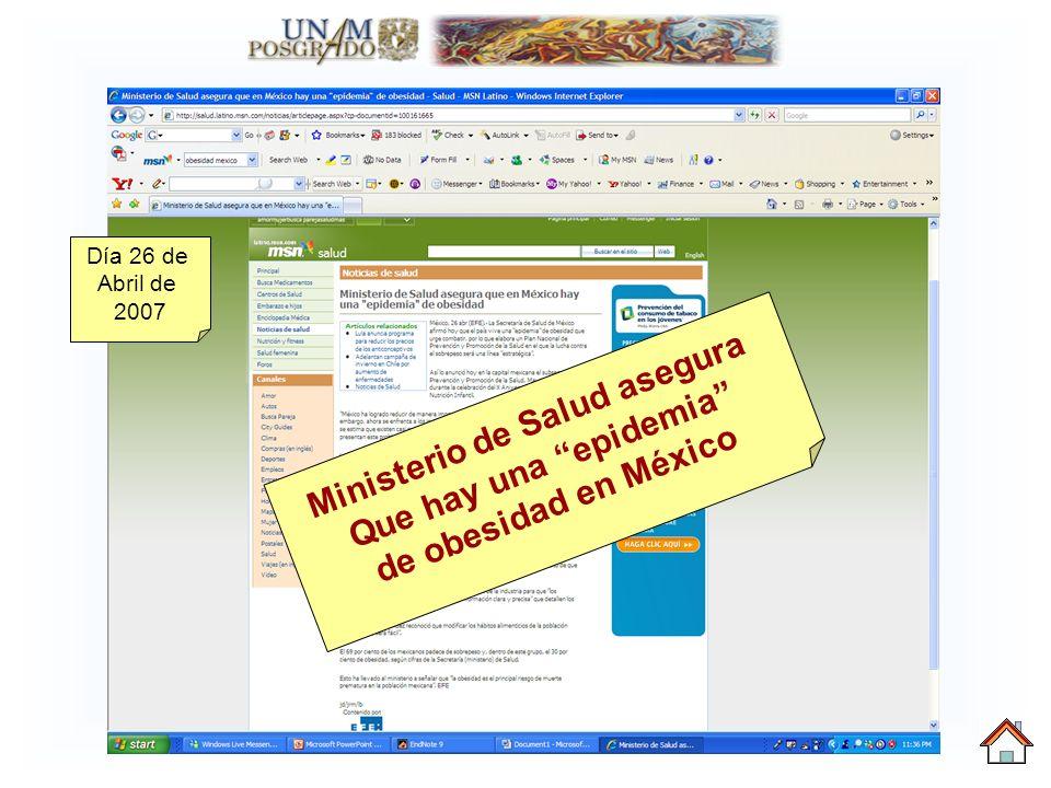 Ministerio de Salud asegura Que hay una epidemia de obesidad en México Día 26 de Abril de 2007