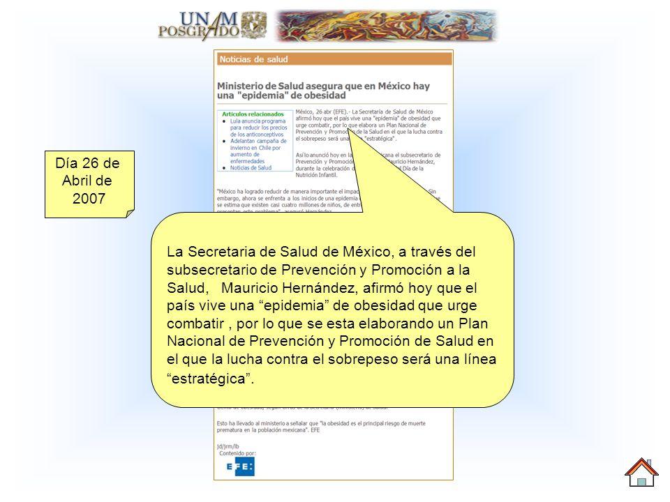 La Secretaria de Salud de México, a través del subsecretario de Prevención y Promoción a la Salud, Mauricio Hernández, afirmó hoy que el país vive una epidemia de obesidad que urge combatir, por lo que se esta elaborando un Plan Nacional de Prevención y Promoción de Salud en el que la lucha contra el sobrepeso será una línea estratégica.