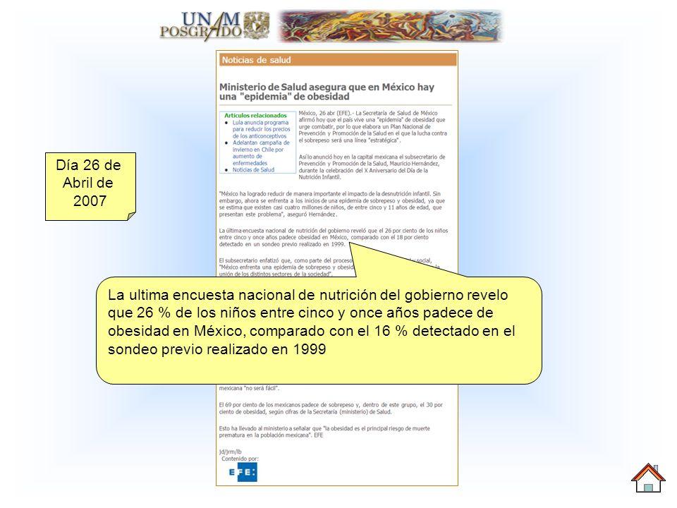 Día 26 de Abril de 2007 La ultima encuesta nacional de nutrición del gobierno revelo que 26 % de los niños entre cinco y once años padece de obesidad en México, comparado con el 16 % detectado en el sondeo previo realizado en 1999