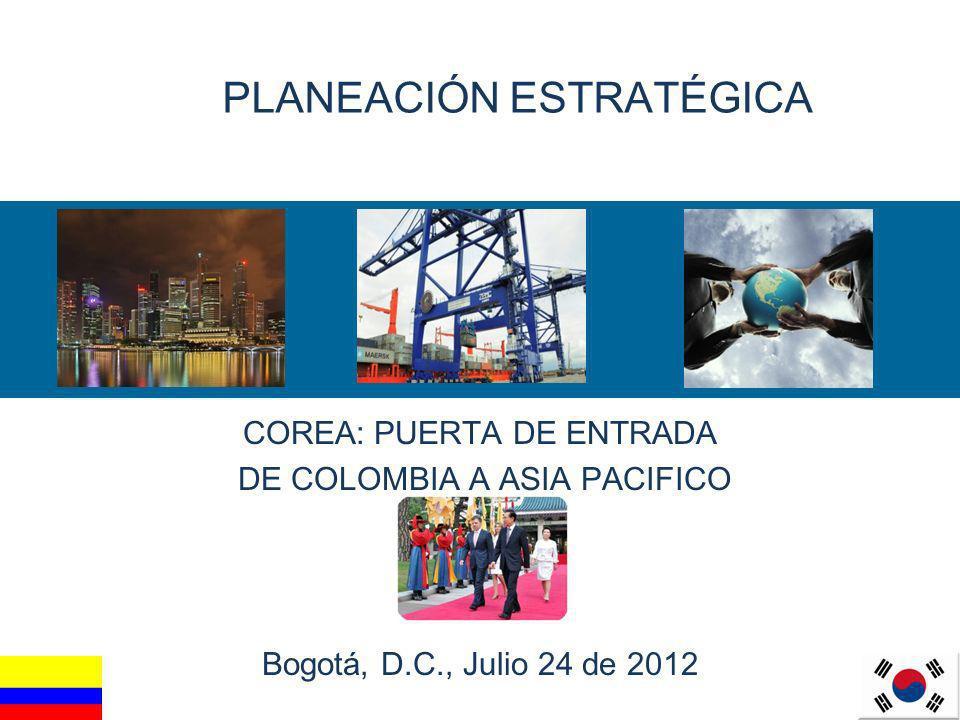 1 PLANEACIÓN ESTRATÉGICA COREA: PUERTA DE ENTRADA DE COLOMBIA A ASIA PACIFICO Bogotá, D.C., Julio 24 de 2012 Bogotá, D.C., Julio 24, 2012