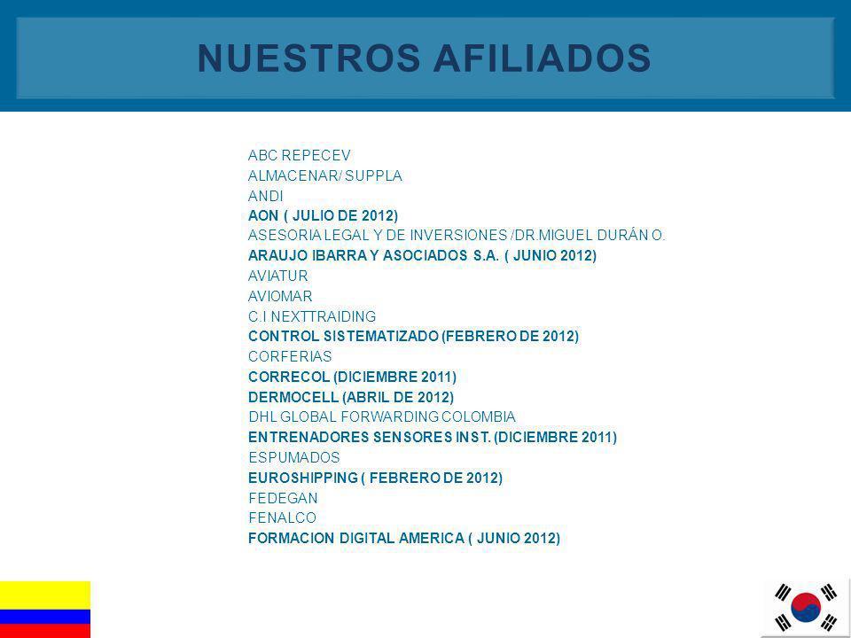 4 NUESTROS AFILIADOS ABC REPECEV ALMACENAR/ SUPPLA ANDI AON ( JULIO DE 2012) ASESORIA LEGAL Y DE INVERSIONES /DR.MIGUEL DURÁN O. ARAUJO IBARRA Y ASOCI