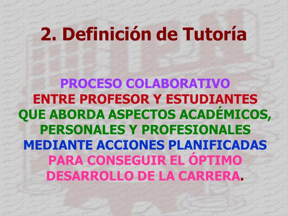 2. Definición de Tutoría PROCESO COLABORATIVO ENTRE PROFESOR Y ESTUDIANTES QUE ABORDA ASPECTOS ACADÉMICOS, PERSONALES Y PROFESIONALES MEDIANTE ACCIONE