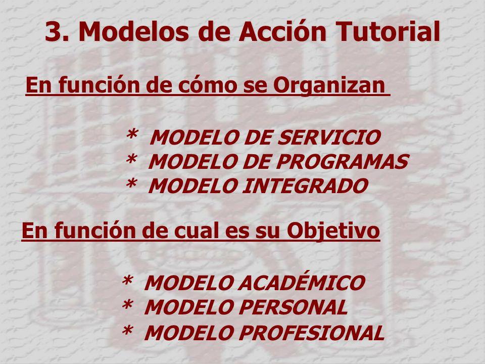 3. Modelos de Acción Tutorial En función de cómo se Organizan * MODELO DE SERVICIO * MODELO DE PROGRAMAS * MODELO INTEGRADO En función de cual es su O
