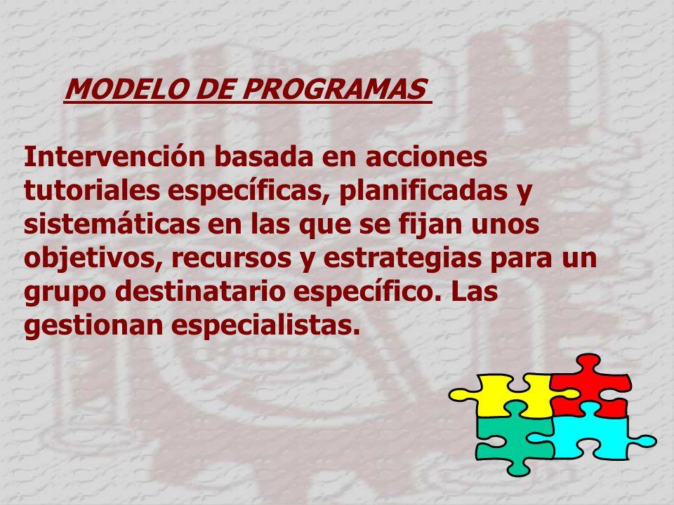 MODELO DE PROGRAMAS Intervención basada en acciones tutoriales específicas, planificadas y sistemáticas en las que se fijan unos objetivos, recursos y estrategias para un grupo destinatario específico.