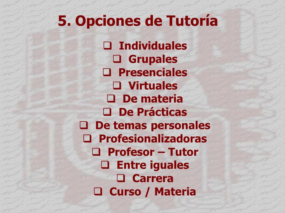 5. Opciones de Tutoría Individuales Grupales Presenciales Virtuales De materia De Prácticas De temas personales Profesionalizadoras Profesor – Tutor E