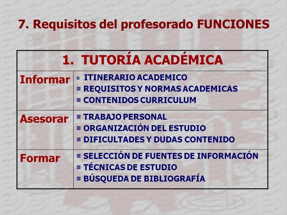 7.Requisitos del profesorado FUNCIONES 1.