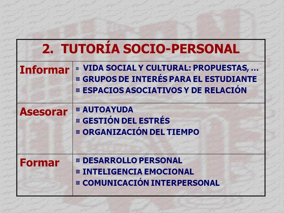 2. TUTORÍA SOCIO-PERSONAL Informar VIDA SOCIAL Y CULTURAL: PROPUESTAS, … GRUPOS DE INTERÉS PARA EL ESTUDIANTE ESPACIOS ASOCIATIVOS Y DE RELACIÓN Aseso
