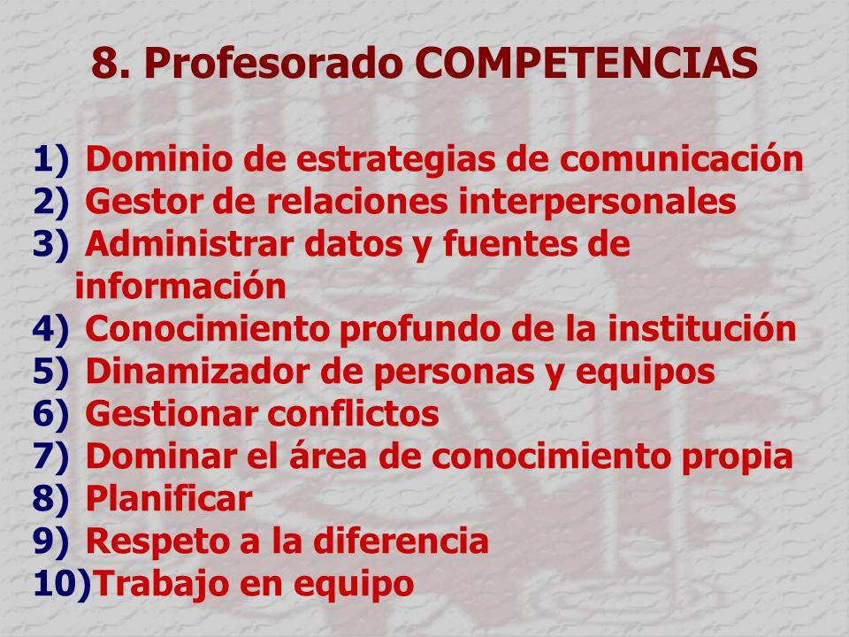 8. Profesorado COMPETENCIAS 1) Dominio de estrategias de comunicación 2) Gestor de relaciones interpersonales 3) Administrar datos y fuentes de inform