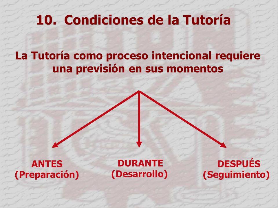 10. Condiciones de la Tutoría La Tutoría como proceso intencional requiere una previsión en sus momentos ANTES (Preparación) DURANTE (Desarrollo) DESP
