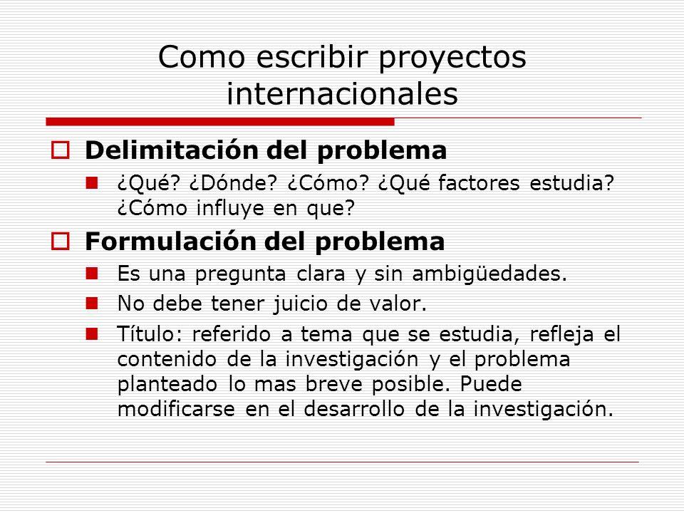 Como escribir proyectos internacionales Delimitación del problema ¿Qué? ¿Dónde? ¿Cómo? ¿Qué factores estudia? ¿Cómo influye en que? Formulación del pr