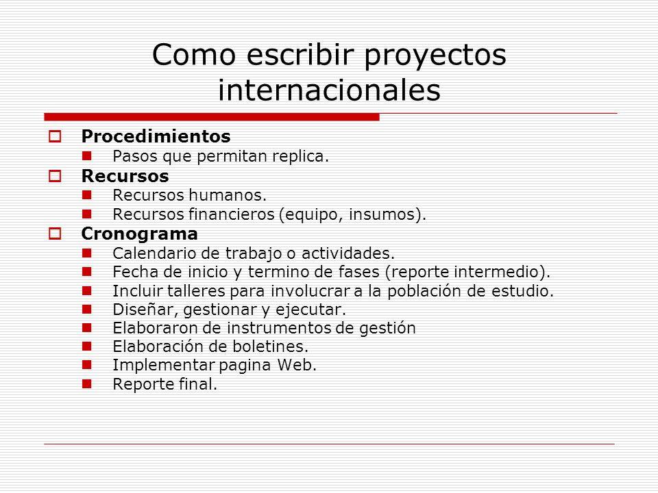 Como escribir proyectos internacionales Procedimientos Pasos que permitan replica. Recursos Recursos humanos. Recursos financieros (equipo, insumos).