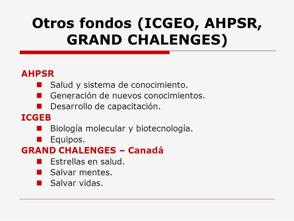 Otros fondos (ICGEO, AHPSR, GRAND CHALENGES) AHPSR Salud y sistema de conocimiento. Generación de nuevos conocimientos. Desarrollo de capacitación. IC