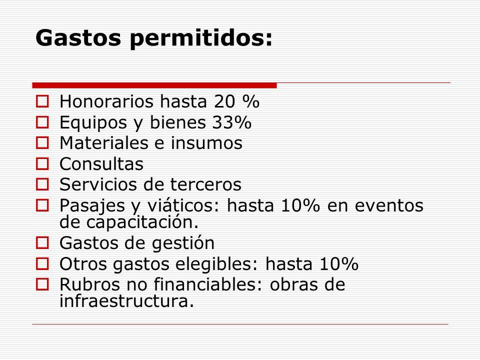 Gastos permitidos: Honorarios hasta 20 % Equipos y bienes 33% Materiales e insumos Consultas Servicios de terceros Pasajes y viáticos: hasta 10% en ev