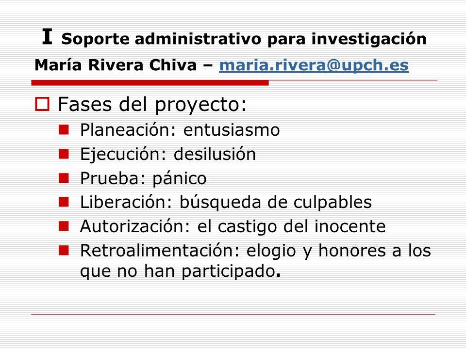I Soporte administrativo para investigación María Rivera Chiva – maria.rivera@upch.esmaria.rivera@upch.es Fases del proyecto: Planeación: entusiasmo E