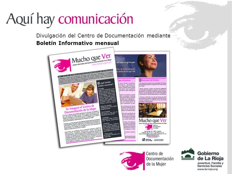 Divulgación del Centro de Documentación mediante Boletín Informativo mensual