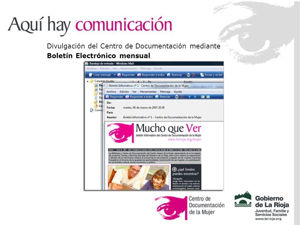 Divulgación del Centro de Documentación mediante Boletín Electrónico mensual