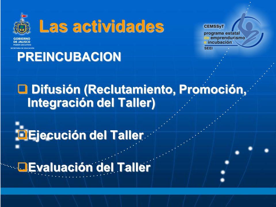 Las actividades PREINCUBACION Difusión (Reclutamiento, Promoción, Integración del Taller) Difusión (Reclutamiento, Promoción, Integración del Taller) Ejecución del Taller Ejecución del Taller Evaluación del Taller Evaluación del Taller