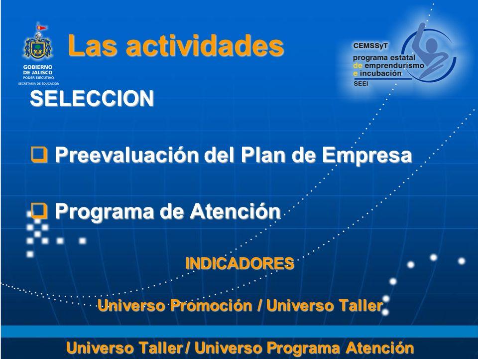 Las actividades SELECCION Preevaluación del Plan de Empresa Preevaluación del Plan de Empresa Programa de Atención Programa de AtenciónINDICADORES Universo Promoción / Universo Taller Universo Taller / Universo Programa Atención
