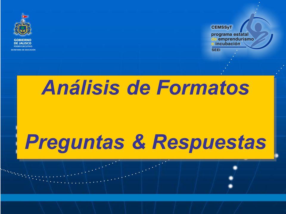 Análisis de Formatos Preguntas & Respuestas Análisis de Formatos Preguntas & Respuestas