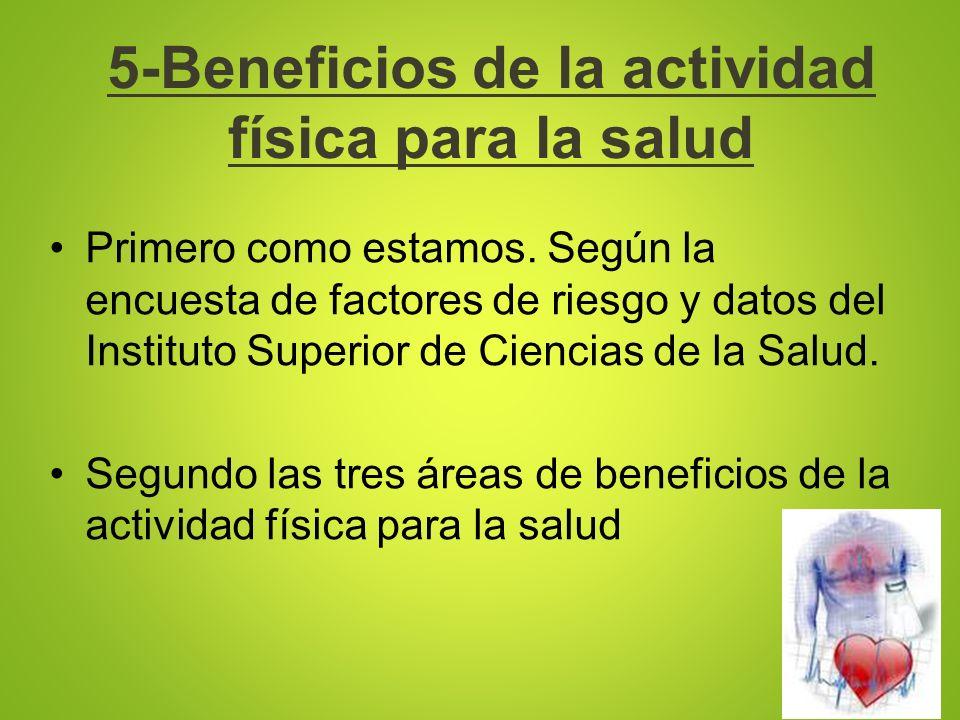 5-Beneficios de la actividad física para la salud Primero como estamos. Según la encuesta de factores de riesgo y datos del Instituto Superior de Cien