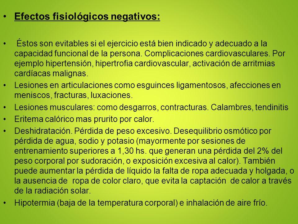 Efectos fisiológicos negativos: Éstos son evitables si el ejercicio está bien indicado y adecuado a la capacidad funcional de la persona. Complicacion