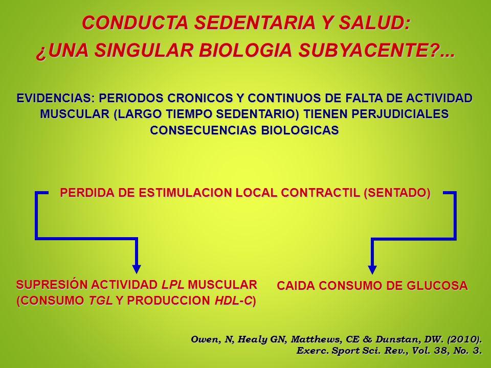 CONDUCTA SEDENTARIA Y SALUD: ¿UNA SINGULAR BIOLOGIA SUBYACENTE?... EVIDENCIAS: PERIODOS CRONICOS Y CONTINUOS DE FALTA DE ACTIVIDAD MUSCULAR (LARGO TIE