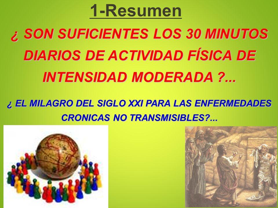 ¿ SON SUFICIENTES LOS 30 MINUTOS DIARIOS DE ACTIVIDAD FÍSICA DE INTENSIDAD MODERADA ?... ¿ EL MILAGRO DEL SIGLO XXI PARA LAS ENFERMEDADES CRONICAS NO