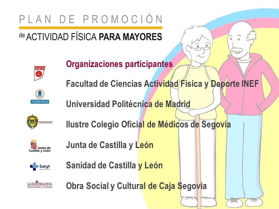 Organizaciones participantes Facultad de Ciencias Actividad Física y Deporte INEF Universidad Politécnica de Madrid Ilustre Colegio Oficial de Médicos
