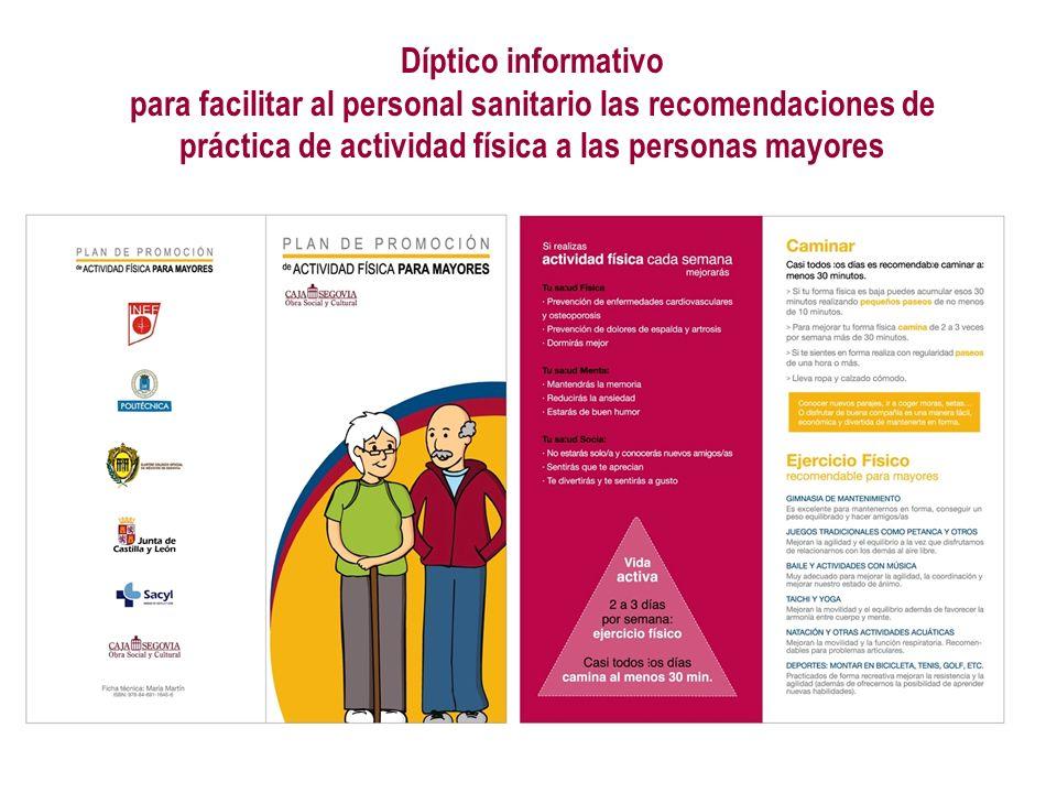 Díptico informativo para facilitar al personal sanitario las recomendaciones de práctica de actividad física a las personas mayores