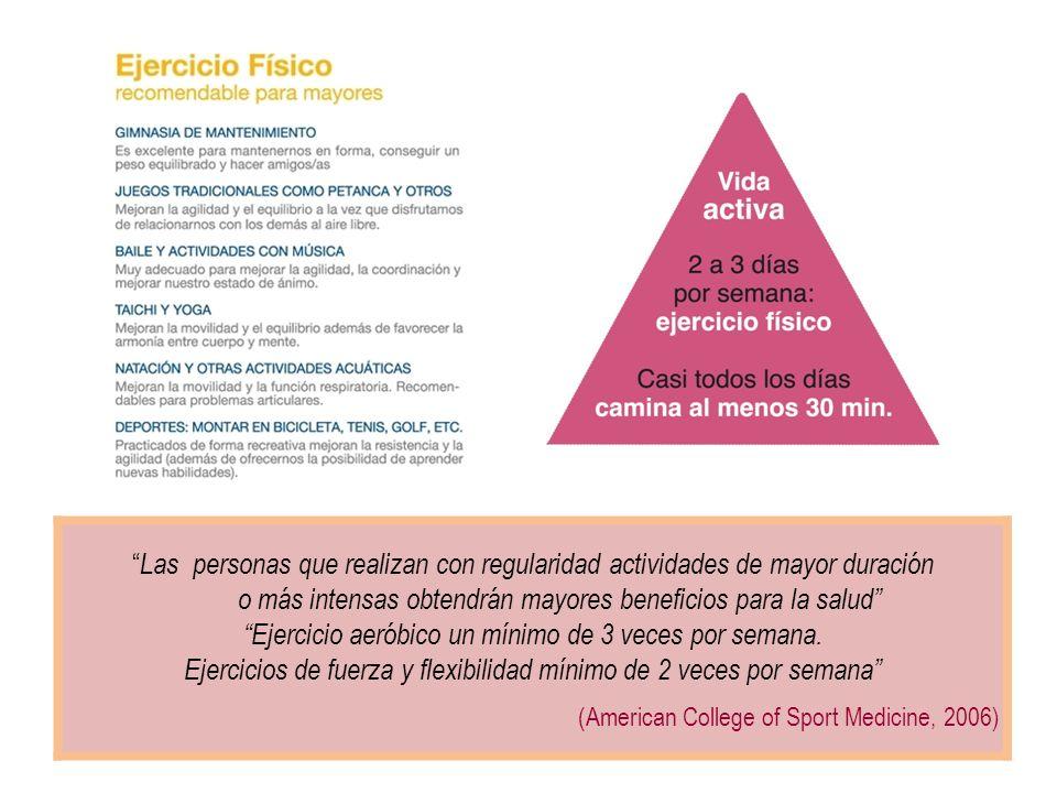 Las personas que realizan con regularidad actividades de mayor duración o más intensas obtendrán mayores beneficios para la salud Ejercicio aeróbico u