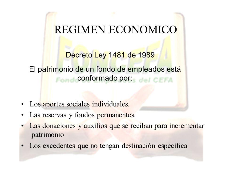 REGIMEN ECONOMICO Los aportes sociales individuales. Las reservas y fondos permanentes. Las donaciones y auxilios que se reciban para incrementar patr