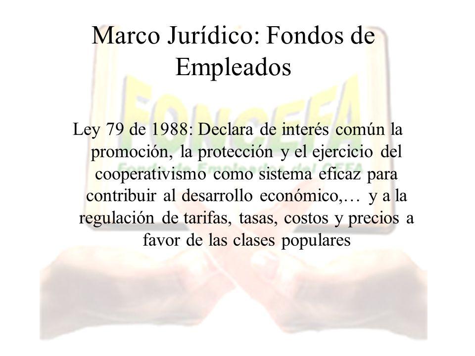 Marco Jurídico: Fondos de Empleados Ley 79 de 1988: Declara de interés común la promoción, la protección y el ejercicio del cooperativismo como sistem