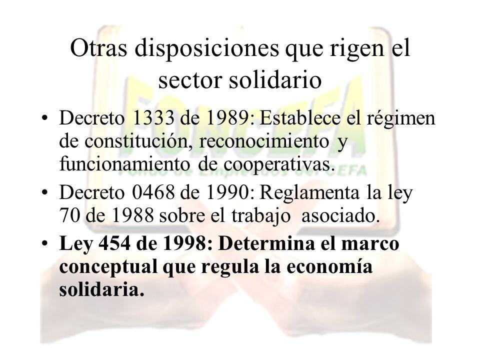 Otras disposiciones que rigen el sector solidario Decreto 1333 de 1989: Establece el régimen de constitución, reconocimiento y funcionamiento de coope