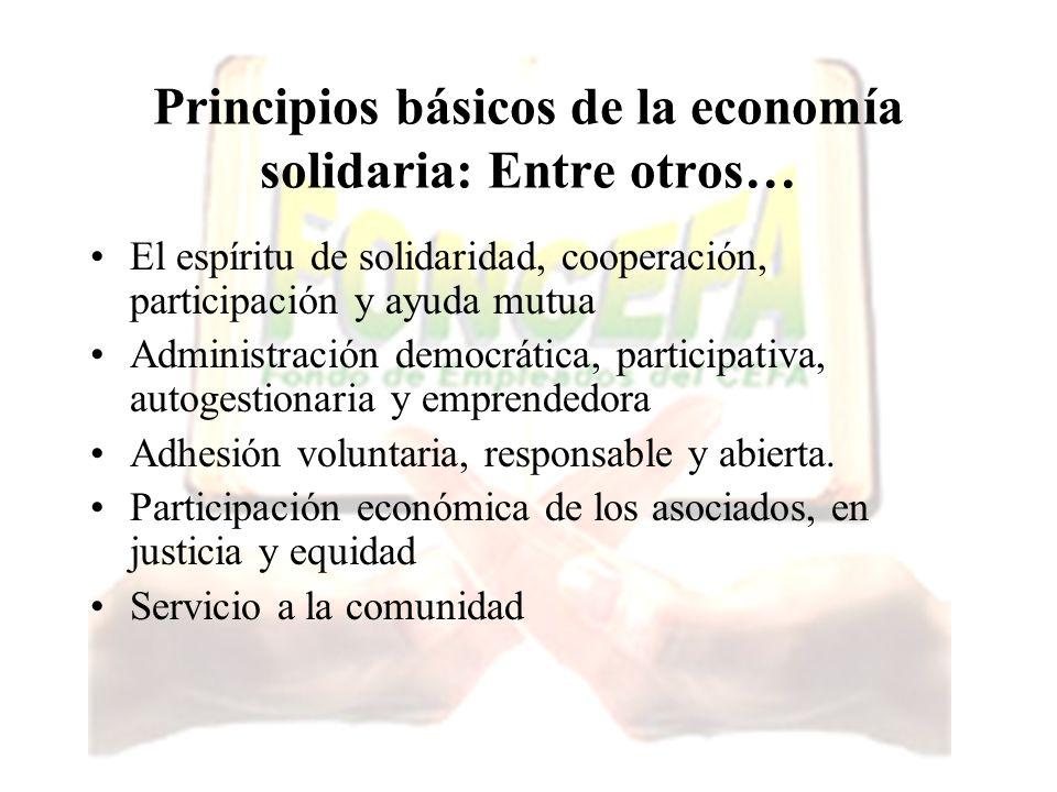 Principios básicos de la economía solidaria: Entre otros… El espíritu de solidaridad, cooperación, participación y ayuda mutua Administración democrát