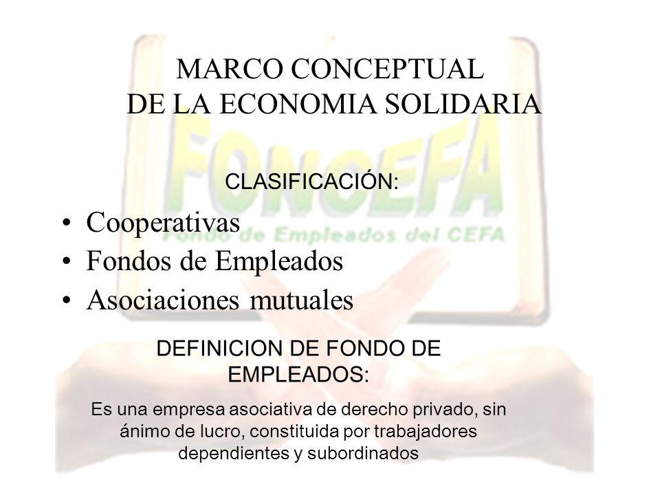MARCO CONCEPTUAL DE LA ECONOMIA SOLIDARIA Cooperativas Fondos de Empleados Asociaciones mutuales CLASIFICACIÓN: DEFINICION DE FONDO DE EMPLEADOS: Es u