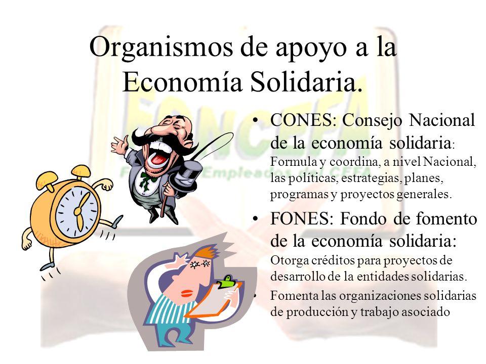 Organismos de apoyo a la Economía Solidaria. CONES: Consejo Nacional de la economía solidaria : Formula y coordina, a nivel Nacional, las políticas, e