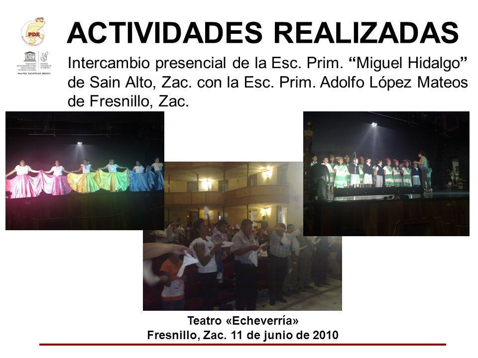 ACTIVIDADES REALIZADAS Intercambio presencial de la Esc. Prim. Miguel Hidalgo de Sain Alto, Zac. con la Esc. Prim. Adolfo López Mateos de Fresnillo, Z