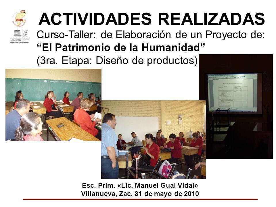 ACTIVIDADES REALIZADAS Curso-Taller: de Elaboración de un Proyecto de: El Patrimonio de la Humanidad (3ra. Etapa: Diseño de productos) Esc. Prim. «Lic