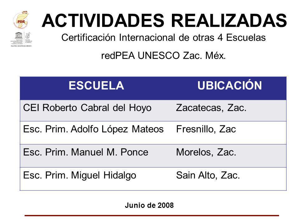ACTIVIDADES REALIZADAS Junio de 2008 Certificación Internacional de otras 4 Escuelas redPEA UNESCO Zac. Méx. ESCUELAUBICACIÓN CEI Roberto Cabral del H