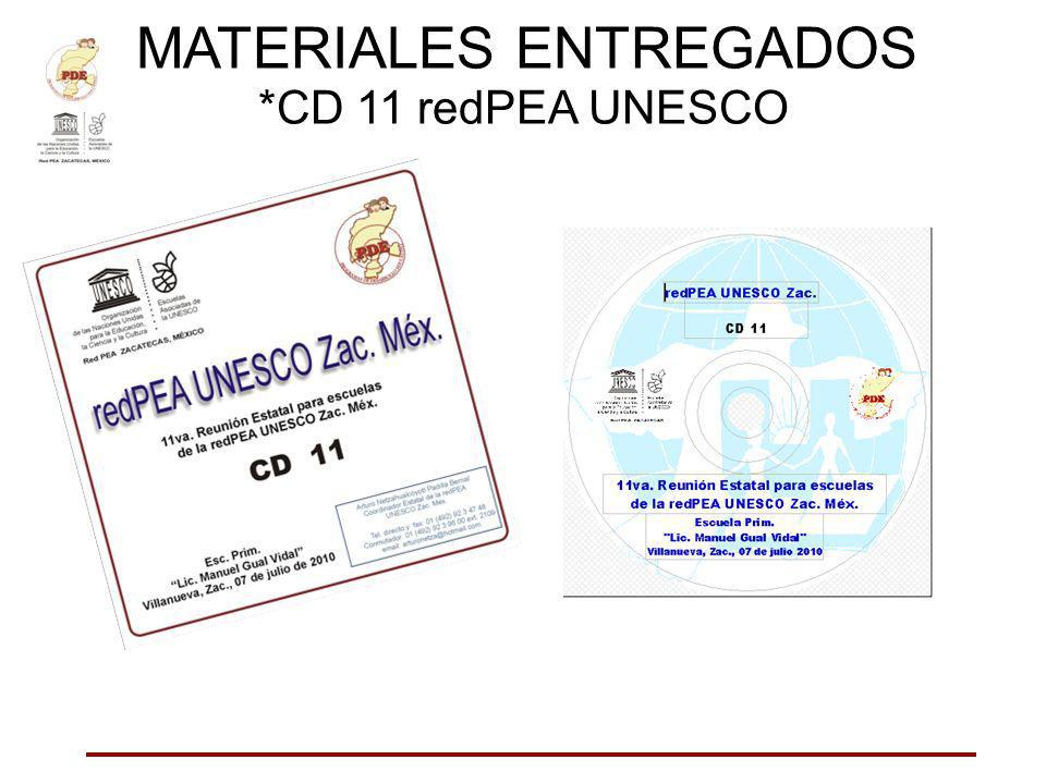 MATERIALES ENTREGADOS *CD 11 redPEA UNESCO