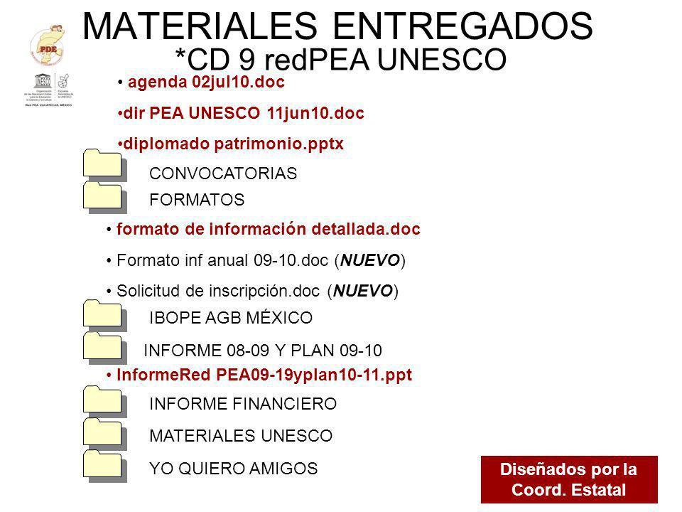 MATERIALES ENTREGADOS *CD 9 redPEA UNESCO Diseñados por la Coord. Estatal agenda 02jul10.doc dir PEA UNESCO 11jun10.doc diplomado patrimonio.pptx INFO