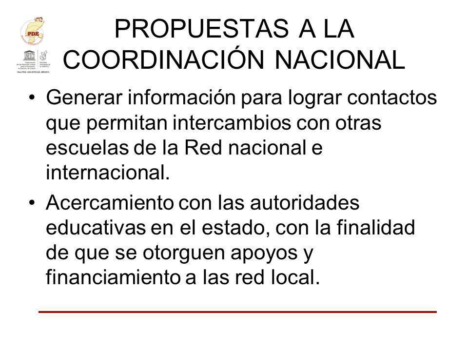 PROPUESTAS A LA COORDINACIÓN NACIONAL Generar información para lograr contactos que permitan intercambios con otras escuelas de la Red nacional e inte