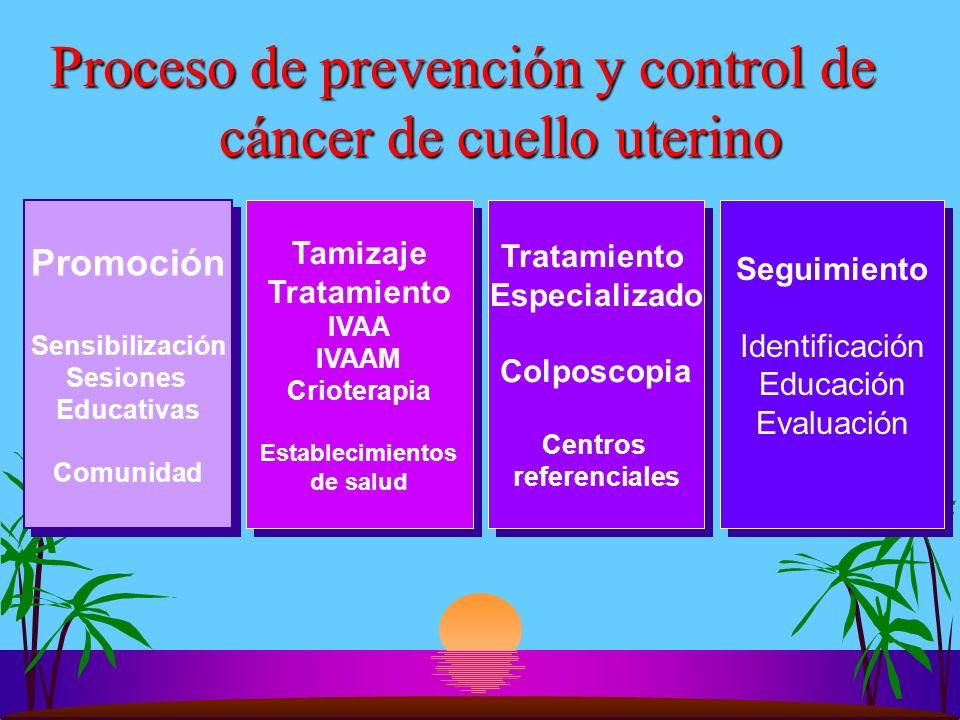 Proceso de prevención y control de cáncer de cuello uterino Promoción Sensibilización Sesiones Educativas Comunidad Promoción Sensibilización Sesiones