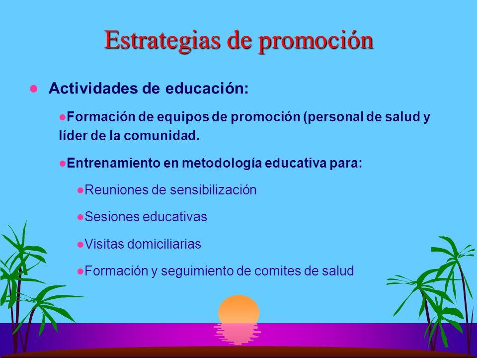 Estrategias de promoción Actividades de educación: Formación de equipos de promoción (personal de salud y líder de la comunidad. Entrenamiento en meto